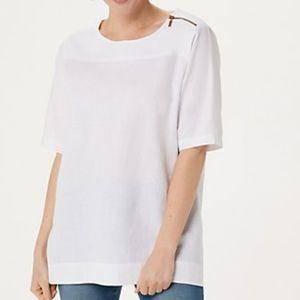Martha Stewart Linen Blend Elbow-Sleeve Blouse L